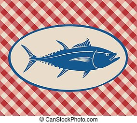Vintage illustration of tuna fish over Italian tablecloth...