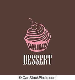 vintage illustration with a cupcake