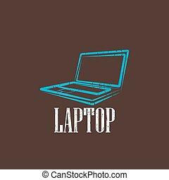 vintage illustration with a laptop