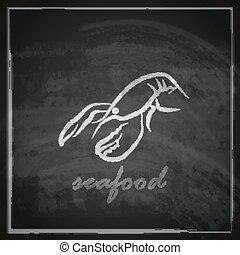 vintage illustration with a lobster on blackboard background...