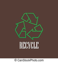 vintage illustration with a recycle symbol