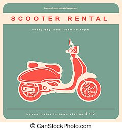 Vintage illustration with a retro scooter