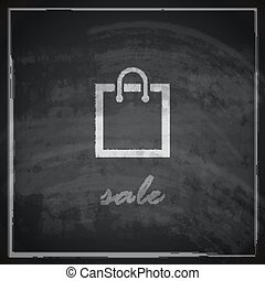 vintage illustration with a shopping bag on blackboard background. sale concept