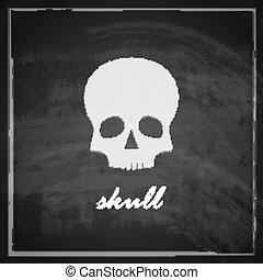 vintage illustration with a skull on blackboard background