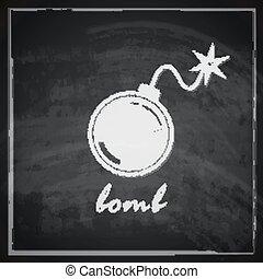 vintage illustration with bomb on blackboard background.