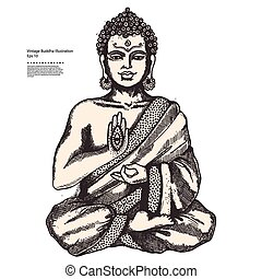 Vintage illustration with Buddha in meditation