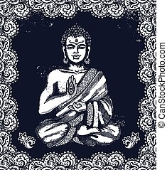 Vintage illustration with Buddha in meditation