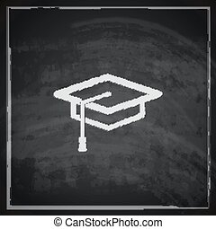 vintage illustration with graduation cap sign on blackboard background. educational concept