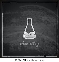vintage illustration with laboratory equipment icon on blackboard background. science concept