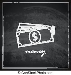 vintage illustration with money on blackboard background. finance concept