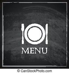vintage illustration with restaurant menu design on blackboard background.