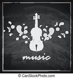 vintage illustration with the violin on blackboard background. music illustration
