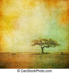 vintage image of a tree over grunge background