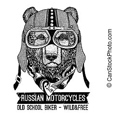 Vintage Image of BEAR for t-shirt design for motorcycle,...