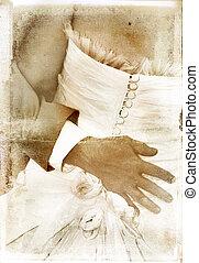 vintage image of bridal couple on textured background