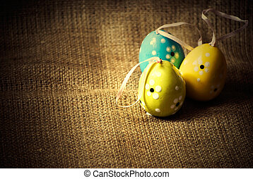 easter eggs - vintage image of colorful easter eggs on...