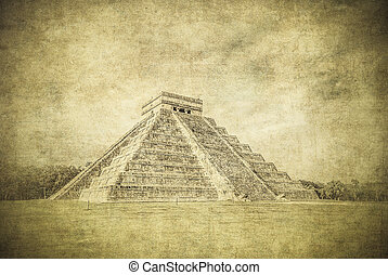 Vintage image of El Castillo or Temple of Kukulkan pyramid,...