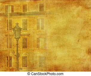 vintage image of house in Rome, Italy