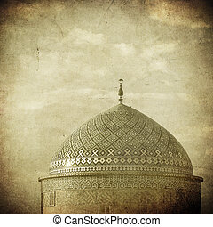 Vintage image of Mosque in an ancient city of Yazd, Iran