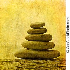 vintage image of pebble stack