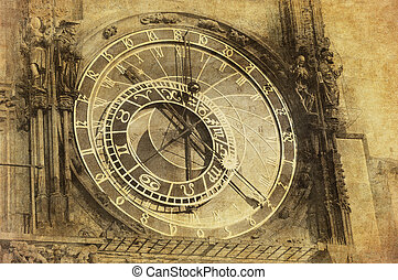 Vintage image of Prague Astronomical Clock, Orloj, in the...