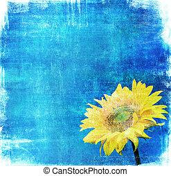 vintage image of sunflower on grunge background