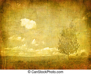 vintage image of tree on grunge background