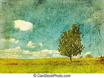 vintage image of tree on grunge background - vintage image...
