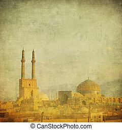 vintage image of Yazd, Iran