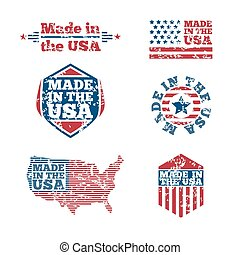 USA labels with grunge effect