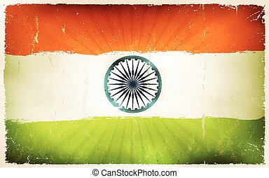 Vintage India Flag Poster Background