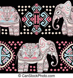 Vintage Indian elephant seamless pattern with tribal ornaments.