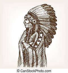 Vintage indian sketch style vector illustration