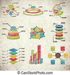 Vintage Infographics Set - Vintage infographics with...