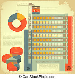 Vintage infographics set - house construction