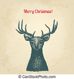 Vintage ink style Christmas card. Vector background for Your design