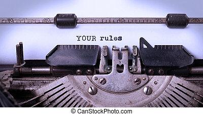 Vintage inscription made by old typewriter, your rules