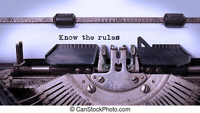 Vintage inscription made by old typewriter, know the rules