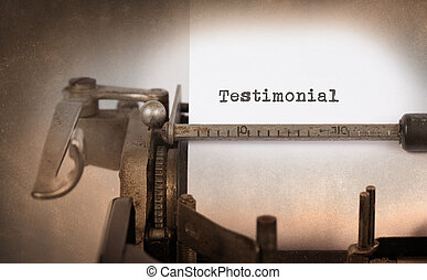 Vintage inscription made by old typewriter, testimonial