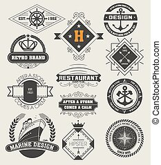 Vintage Insignias / logotypes set. Vector design elements,...
