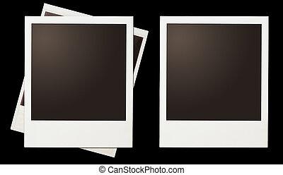 Vintage instant photo polaroid frames set isolated on black