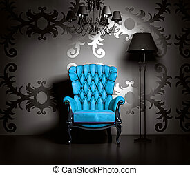 vintage interior - 3D interior scene with blue classic...