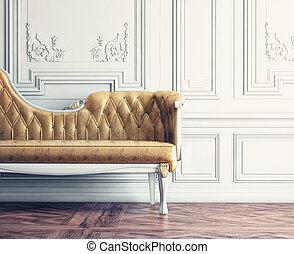 vintage interior - Beautiful vintage sofa next to wall...