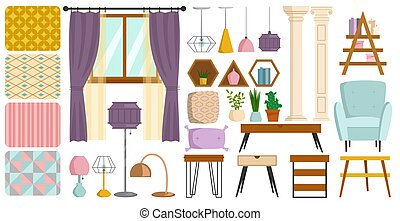 Vintage interior furniture rich wealthy house chair room with sofa couch seat set vector illustration.
