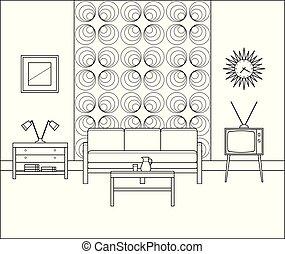 Vintage interior. Linear living room. Vector illustration.