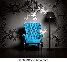 vintage interior - 3D interior scene with blue classic...