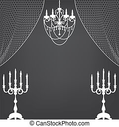 candlestick, curtains and chandelier - Vintage interior with...
