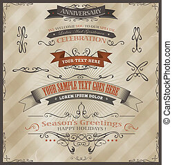 Illustration of vintage grunge banners and ribbons, for invitation documents background, season's greetings, holidays celebration with sketched floral patterns, text and design elements