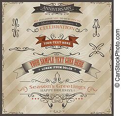 Vintage Invitation And Season's Greetings - Illustration of...