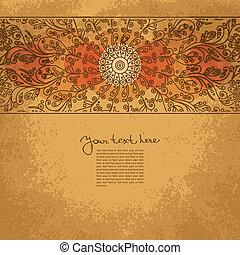 Vintage invitation card on grunge background with floral ornament
